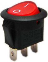 Přepínač kolébkový ON-ON 1pol.červený 250V/6A