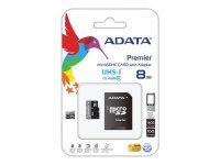 Karta paměťová ADATA Micro SDHC 8GB Class 10 + adaptér