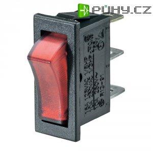 Kolébkový spínač SCI R13-91B-01 s aretací 250 V/AC, 10 A, 1x vyp/zap, černá, červená, 1 ks