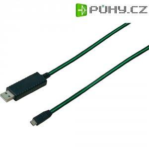 Svítící USB kabel, USB A ⇔ USB micro B, zelený, 0,9 m