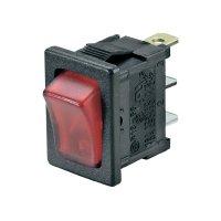 Kolébkový spínač SCI R13-66B-02 LED 12V/DC, 1x vyp/zap, 10 A, černá/červená
