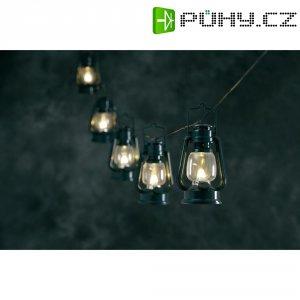 Venkovní svítící řetěz se zelenými lucernami, 8 LED, 7 m