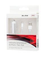 Kabel pro iPhone 5/6/iPad Air/iPad Mini/iPod, bílý 1m + USB nabíječka do auta 1x 2.1A