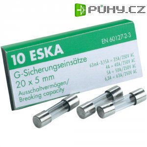 Jemná pojistka ESKA pomalá SICH 40MA T 522.503, 250 V, 0,04 A, skleněná trubice, 5 mm x 20 mm, 10 ks