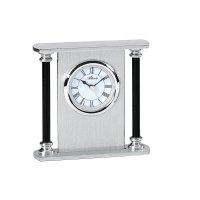 Analogové stolní hodiny s budíkem, 3096/19, 11,5 x 11 cm, kov, stříbrná