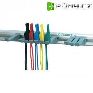 Sada měřicích kabelů s držákem na stěnu banánek 2 mm ⇔ banánek 2 mm SKS Hirschmann, 1 m