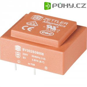 Transformátor do DPS Zettler Magnetics El30, 230 V/2x 18 V, 2x 17 mA, 2 VA