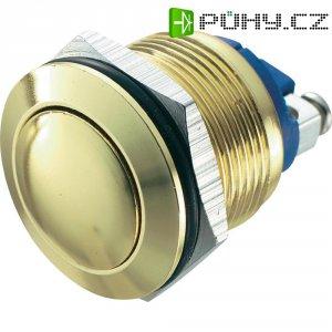 Tlačítko antivandal bez aretace TRU COMPONENTS GQ 19B-G, 48 V/DC, 2 A, mosaz, 1x vyp/(zap)