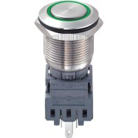Tlačítko antivandal bez aretace TRU COMPONENTS LAS1-BGQ-11E/G/12V, 250 V/AC, 5 A, nerezová ocel, 1x vyp/(zap), zelená