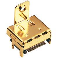 HDMI konektor BKL Electronic 907010, zásuvka vestavná horizontální, 19pól., zlatá