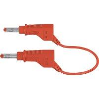 Měřicí kabel banánek 4 mm ⇔ banánek 4 mm MultiContact XZG410, 1 m, červená