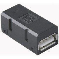 Propojka USB 2.0 BTR Netcom 1401U00812KI, spojka rovná, černá