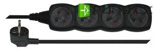Prodlužovací přívod 4 zásuvky 5m - černý