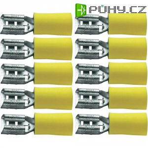 Faston zásuvka 323008, 6.3 mm x 0.8 mm, žlutá, 10 ks
