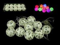 Vánoční osvětlení, LED RGB blikající baňky na baterie - bílé