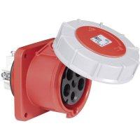 CEE zásuvka Twist 335-6 PCE, rovná, 63 A, IP67, červená/šedá