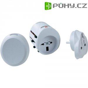 Cestovní adaptér s USB Skross, 1.300.120, 2pólový, bílá