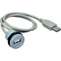 USB 2.0 zásuvka Typ A vestavná se zástrčkou Schlegel RRJ_USB_150CM, IP67, 150 cm, šedá