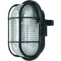ISO svítidlo s mřížkou, 60 W, E27, IP44, oválné, černá
