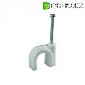 Hřebíkové příchytky Conrad Components 523552, 10 mm (max), bílá (matná), 100 ks