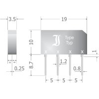 Křemíkový můstkový usměrňovač Diotec B80C2300-1500A, U(RRM) 160 V, 1,5 A, SIL