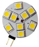 Žárovka LED G4 9xSMD5050 teplá bílá, 12V/1,6W - ploché provedení
