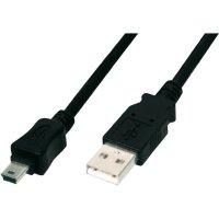 USB 2.0 kabel Digitus AK-300108-010-S, [1x USB 2.0 zástrčka A - 1x mini USB 2.0 zástrčka B], 1 m, černá