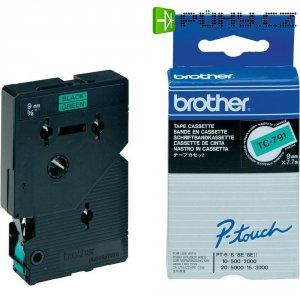 Páska do štítkovače Brother TC-791, 9 mm, TC, 7,7 m, černá/zelená