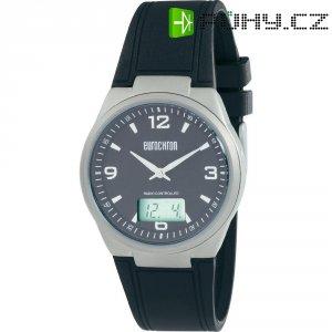 Ručičkové náramkové DCF hodinky Eurochron Titan 770, kožený pásek, černá/stříbrná