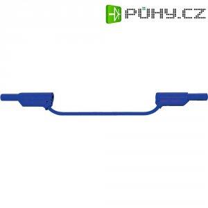 Měřicí silikonový kabel banánek 4 mm ⇔ banánek 4 mm MultiContact XVS-4075, 0,25 m, modrá