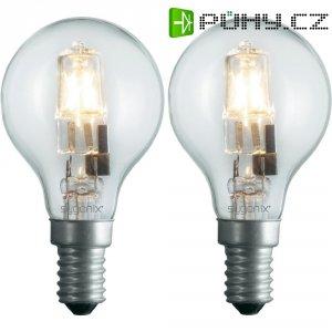 Halogenová žárovka Sygonix, E14, 28 W, 80 mm, stmívatelná, teplá bílá, 2 ks