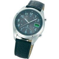 Ručičkové náramkové DCF hodinky Multiband, kožený pásek, solární, antracit