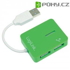 USB 2.0 hub LogiLink, 4-portový, zelený