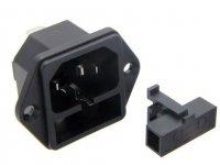 Síťová zásuvka 230V panelová s pojistkovým pouzdrem 5x20mm IEC60320