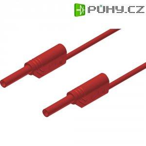 Měřicí kabel banánek 2 mm ⇔ banánek 2 mm SKS Hirschmann MVL S 25/1 Au, 0,25 m, červená