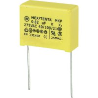 Foliový kondenzátor MKP, 0,82 µF, X2 275 V/AC, 10 %, 26 x 11 x 20 mm