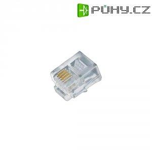 Konektor do DPS (6P6C), zástrčka rovná, 5 ks, transparentní