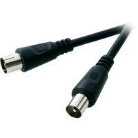 Anténní kabel Speaka, zástrčka 75 Ω ⇔ zásuvka 75 Ω, 5 m, černá
