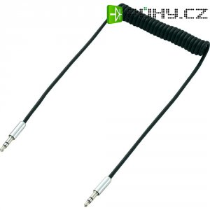 Připojovací kabel spirálový SpeaKa, jack 3,5 mm ⇔ jack 3,5 mm, černá, 1 m