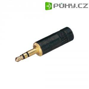 Jack konektor 3,5 mm stereo Rean AV NYS 231, zástrčka rovná, 3pól., černá