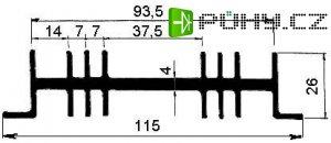 Chladič Al ZH0136 115x26x100mm