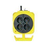 Závěsný proudový rozbočovač, 4 zásuvky, žlutá