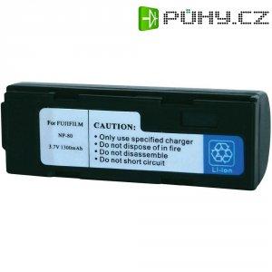 Li-Ion akumulátor pro videokameru FUJI NP-80, KODAK KLIC-30, 3,7 V, 1300 mAh, černá