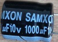 1000u/10V 85° 10x12x5mm, elektrolyt. kondenzátor radiální