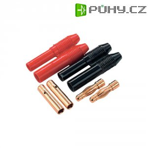 Konektor 4 mm Schnepp, zásuvkaa zástrčka, zlacený, 2 páry