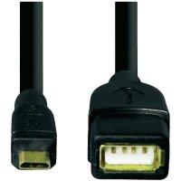 Kabel s adaptérem Hama USB 2.0, černý, 0,15 m