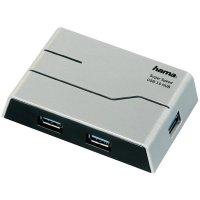 USB 3.0 hub Hama, 4-portový, stříbrný/černý