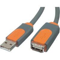 USB 2.0 kabel, USB 2.0 zástrčka A ⇔ USB 2.0 zásuvka A, šedá, 4,8 m