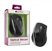 Myš PC optická drátová CANYON, 800dpi, černo-stříbrná