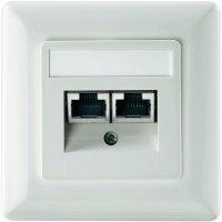 Datová zásuvka s krytem Setec, CAT 5e, 2x RJ45, čistá bílá